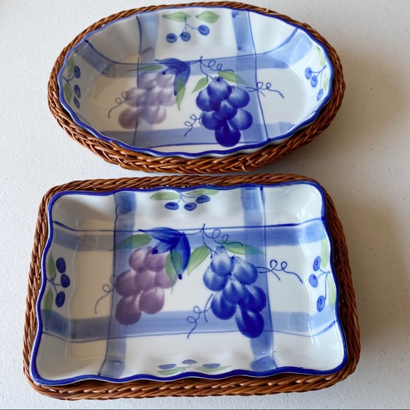 Vintage Other - Vintage Ceramic Dish with Grapes Wicker Baskets
